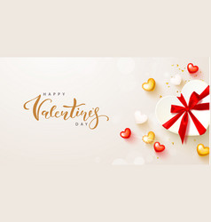 happy valentines day card design with gift box vector image