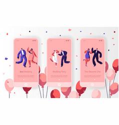 happy wedding dancing character mobile app vector image