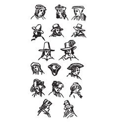 Hats in 16th to 18th centuries vintage engraving vector