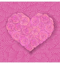 Heart-shaped rose bouquet in soft pink colors vector image