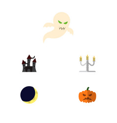 Icon flat celebrate set of gourd phantom vector