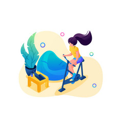 isometric 3d girl is engaged in sports at home vector image