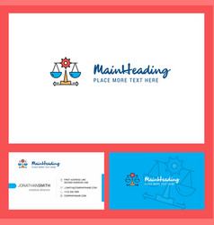 Justice logo design with tagline front and back vector