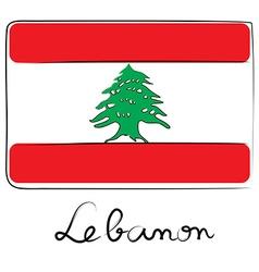 Lebanon flag doodle vector
