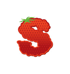 Letter s strawberry font red berry lettering vector