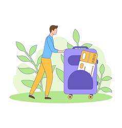 man suitcase ticket tourism filled outline vector image