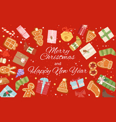 merry christmas and winter holiday red banner with vector image
