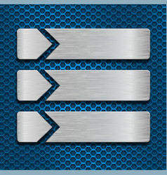 Metal scratched plates on blue perforated vector