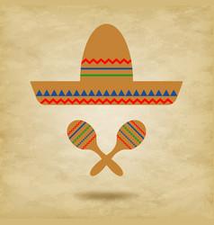 mexico icons sombrero vector image