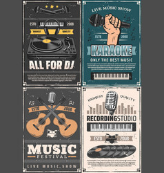 Microphone musical instruments and vinyl records vector