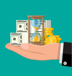 money with hourglass clock in hand vector image