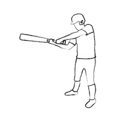 monochrome sketch of baseball player with baseball vector image