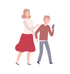 Mother and her teenage son walking holding hands vector
