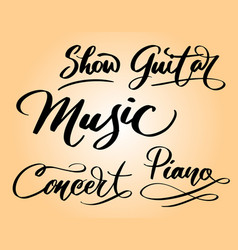 Music and concert hand written typography vector