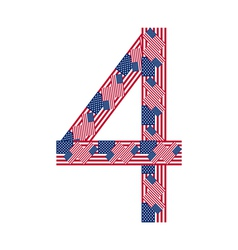 Number 4 made usa flags on white background vector