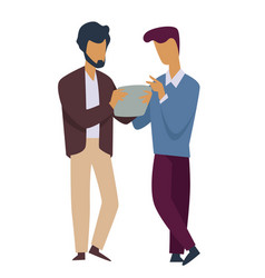 office workers men discussing work report isolated vector image