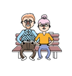 old couple in the chair with hairstyle vector image