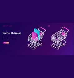 online shopping isometric concept for mobile app vector image