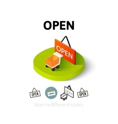 Open icon in different style vector image
