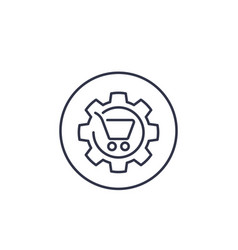 Order processing shopping cart line icon vector