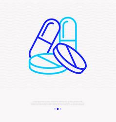 pills medicine capsules vitamins thin line icon vector image