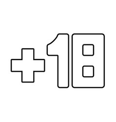 plus eighteen 18 black icon vector image