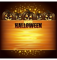 Pumpkins and wooden texture Halloween background vector image