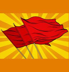 red flag pop art background vector image
