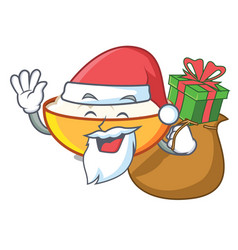 Santa with gift cottage cheese mascot cartoon vector