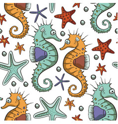 Seahorse animal seamless pattern vector