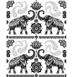 Seamless pattern with decorated elephants vector