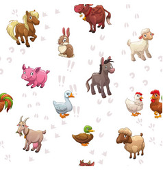 Seamless pattern with funny cartoon farm animals vector
