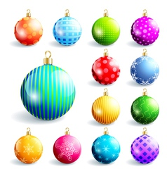 set colorful christmas and new year balls vector image