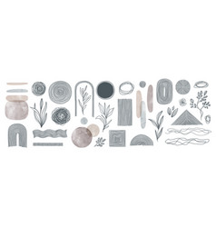 set of elements for wall art minimal poster vector image