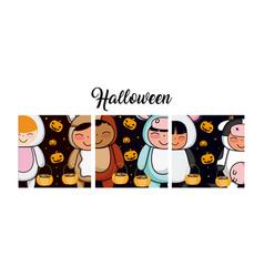 set of halloween cards vector image