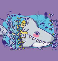 shark in sea cute cartoon vector image