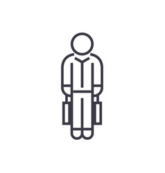 shopping man with bags linear icon sign symbol vector image