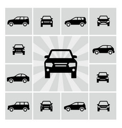 Side and front car silhouettes icons vector
