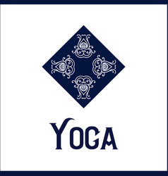 simple logo with abstract curly symbol for yoga vector image