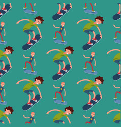 skateboarder active people seamless pattern vector image