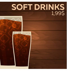 Soft drinks price fast food restauran menu vector