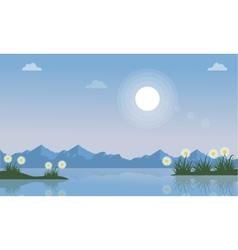 Spring on lake landscape vector