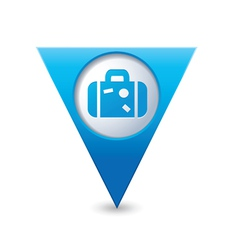 Suitcase icon on map pointer blue vector