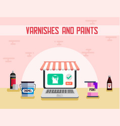 Varnishes and paints materials flat banner vector