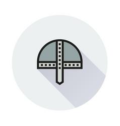 viking helmet icon on round background vector image