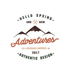 Vintage adventure hand drawn label design hello vector