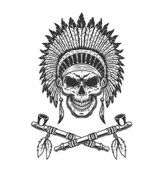 vintage native american indian chief skull vector image