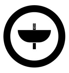 Wash basin icon black color in circle vector