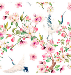 watercolor crane with flowers pattern vector image