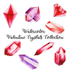 Watercolor valentine crystal collection vector